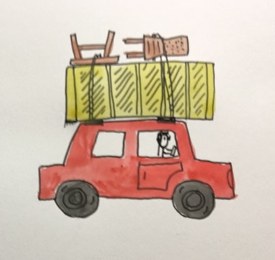 doodle of car and a billy bookcase on top